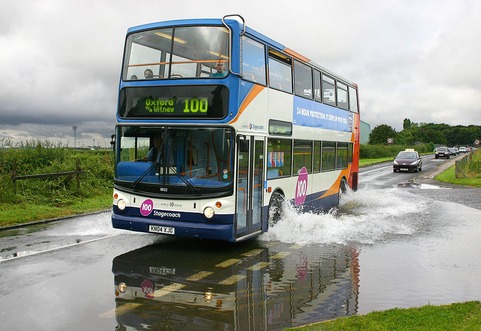 Bus in the floods at Brize Norton